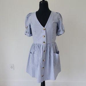 Trf Zara blue white striped short dress medium
